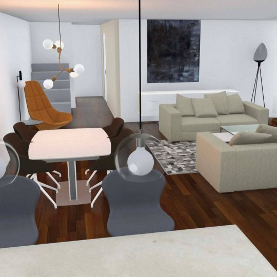 room visualisation of open plan living space for church conversion in scotland