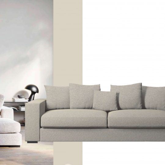 mood board with modern sofa for church conversion project